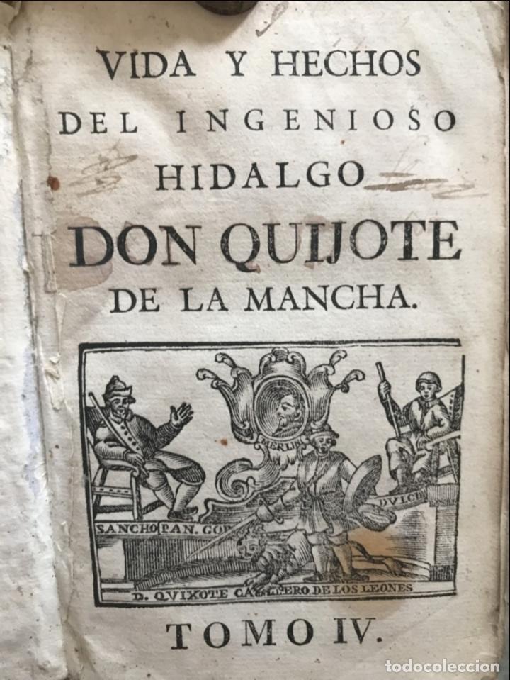 VIDA Y HECHOS...DON QUIJOTE DE LA MANCHA, TOMO 4, 1765. M. DE CERVANTES/MANUEL MARTIN. XILOGRAFÍAS. (Libros Antiguos, Raros y Curiosos - Literatura - Otros)