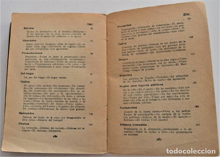 Libros antiguos: TRATADO PRÁCTICO DE ETIQUETA Y DISTINCIÓN SOCIAL - J. SÁNCHEZ MORENO - EDITORIAL CULTURA, AÑO 1928 - Foto 6 - 214807621