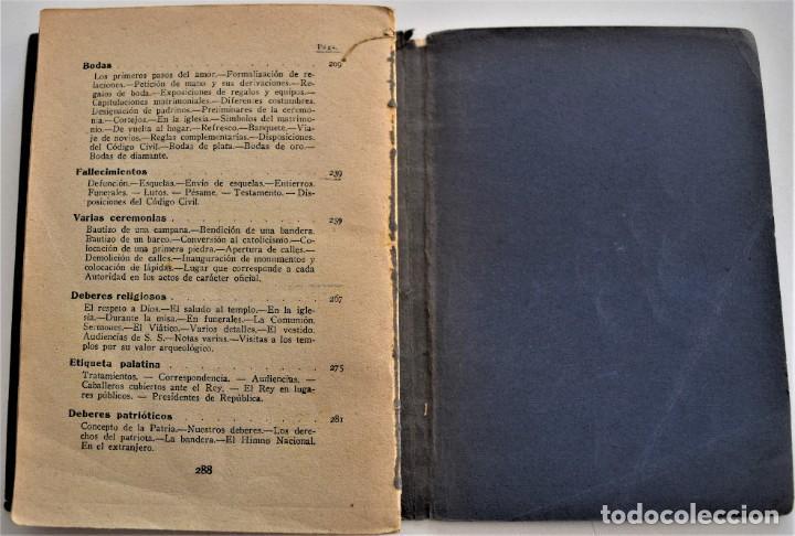 Libros antiguos: TRATADO PRÁCTICO DE ETIQUETA Y DISTINCIÓN SOCIAL - J. SÁNCHEZ MORENO - EDITORIAL CULTURA, AÑO 1928 - Foto 7 - 214807621