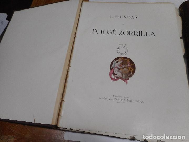 Libros antiguos: JOSÉ ZORRILLA Leyendas de D. José Zorrilla ( 2 Tomos) Q2324T - Foto 2 - 214962483