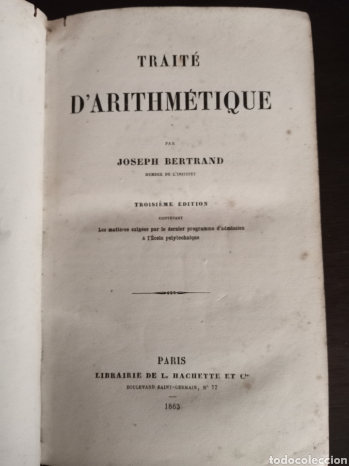 Libros antiguos: TRAITE DARITHMÉTIQUE - Foto 2 - 215459910