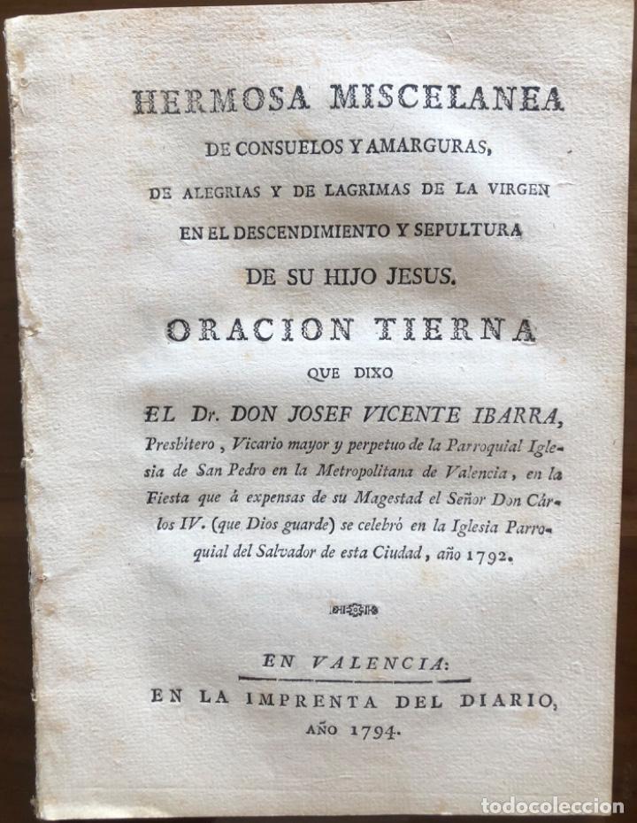 VALENCIA- JOSEF VICENTE IBARRA - MISCELANEA- FIESTA A EXPENSAS CARLOS IV - 1794 (Libros Antiguos, Raros y Curiosos - Historia - Otros)