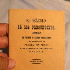 Libros antiguos: EL ORÁCULO DE LOS PREGUNTONES JUEGO DE VEINTE CUATRO PREGUNTAS PUESTAS EN VERSO ILUSIONISMO FACSIMIL. Lote 177473520