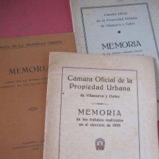 Libros antiguos: MEMORIA CÁMARA DE LA PROPIEDAD URBANA. VILLANUEVA Y GELTRÚ. 1912 1928, 1929/30. VILANOVA I LA GELTRÚ. Lote 216895960