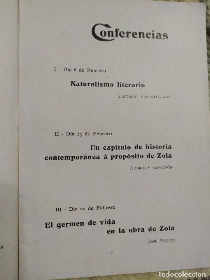 Libros antiguos: 1903. Conferencias Zola. - Foto 3 - 217254020