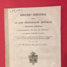 Libros antiguos: DISCURSO INAUGURAL DE LAS ESCUELAS. ESPECIAL MEDICINA, M. JOSE GONZALEZ Y CRESPO MADRID 1843. Lote 217839821