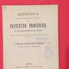 Libros antiguos: INSTITUTO PROVINCIAL DE 2ª ENSEÑANZA DE GERONA. M. MORALEDA Y SIERRA 1880 MEMORIA. Lote 217840286