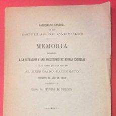 Libros antiguos: ESCUELAS DE PARVULOS MEMORIA, SITUACION Y VICISITUDES POR EL MINISTO DE FOMENTO 1884. Lote 218131971