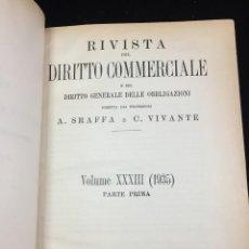 Libros antiguos: RIVISTA DEL DIRITTO COMMERCIALE E DEL DIRITTO GENERALE DELLE OBBLIGAZIONI. VOL. 33° 1935 PARTE I. Lote 218193346