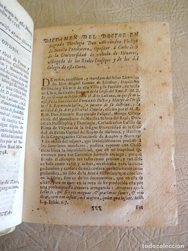 Libros antiguos: libro examen de la crisis maestro benito geronimo feijoo arte luliana año 1749 2 ramon llull - Foto 11 - 218285700