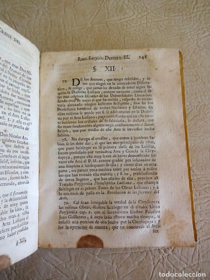 Libros antiguos: libro examen de la crisis maestro benito geronimo feijoo arte luliana año 1749 2 ramon llull - Foto 12 - 218285700