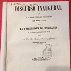 Libros antiguos: UNIVERSIDAD DE BARCELONA. RAMON FERRER Y GARCES, DISCURSO 1850 IMP. TOMAS GORCHS. Lote 218383240