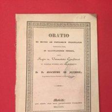 Libros antiguos: ORATIO DE MUTUO POPULORUM. JOACHINO AB AGUIRRE 1835 MATRITI. Lote 218385453