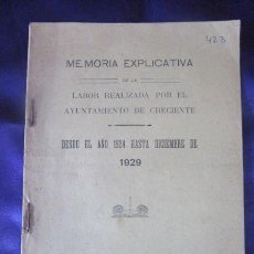 Libri antichi: GALICIA. PONTEVEDRA. CRECENTE. MEMORIA EXPLICATIVA DE LA LABOR DEL AYUNTAMIENTO DESDE 1924 A 1929. Lote 218766282