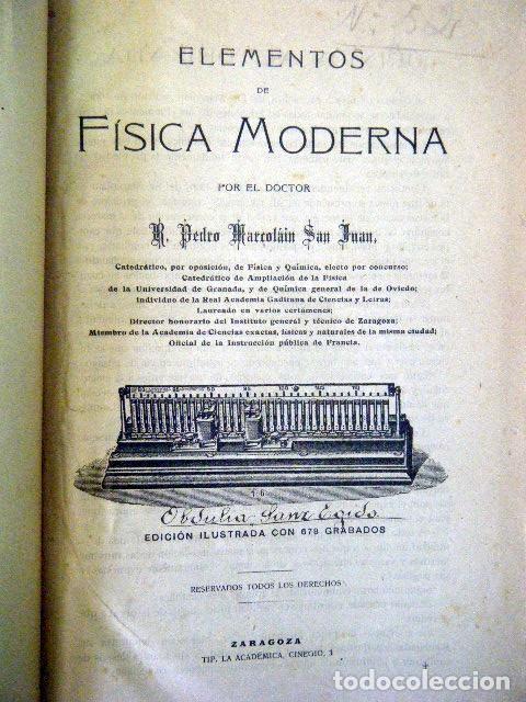 ELEMENTOS DE FÍSICA MODERNA. MARCOLÁIN. (Libros Antiguos, Raros y Curiosos - Ciencias, Manuales y Oficios - Otros)
