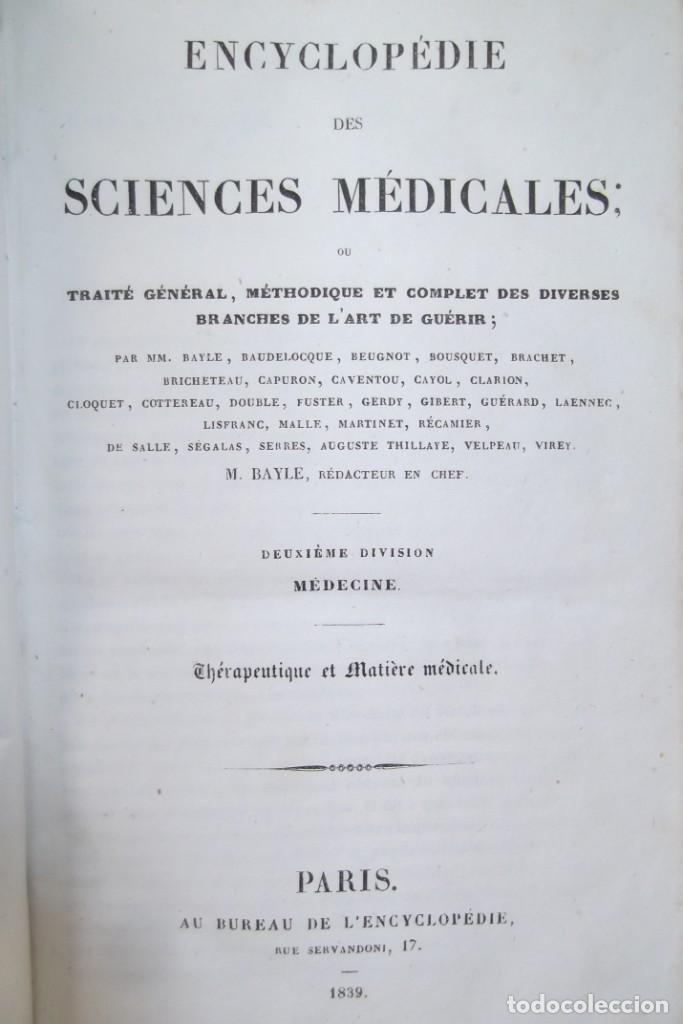 Libros antiguos: ¡¡ ENCYCLOPEDIE DES SCIENCIES MEDICALES, AÑO 1839. !! - Foto 4 - 220557627