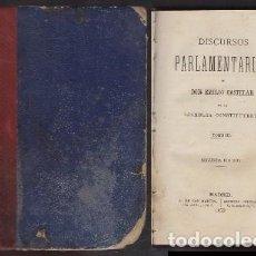 Libros antiguos: DISCURSOS PARLAMENTARIOS. EN LA ASAMBLEA CONSTITUYENTE TOMO III - CASTELAR, EMILIO - A-INCOMP-412. Lote 221153583