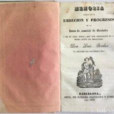 Libros antiguos: MEMORIA ACERCA DE LA ERECCIÓN Y PROGRESOS DE LA JUNTA DE COMERCIO DE CATALUÑA Y DE SU CASA LONJA. -. Lote 123166430