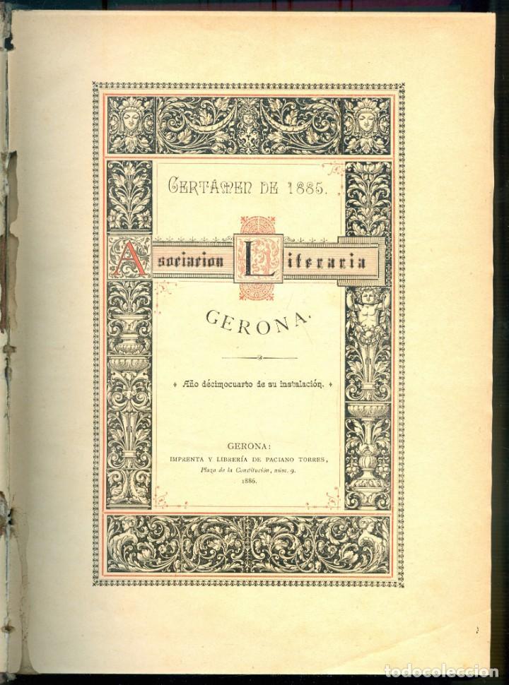 Libros antiguos: NUMULITE E0062 Asociación literaria de Gerona Girona 1881 1984 / 1885 1889 / 1890 1893 Tres tomos - Foto 3 - 221412391