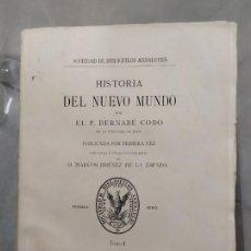 Libros antiguos: HISTORIA DEL NUEVO MUNDO P BERNABE COBO 4 TOMOS. Lote 221625942