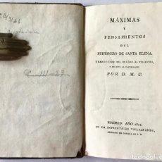 Libros antiguos: MÁXIMAS Y PENSAMIENTOS DEL PRISIONERO DE SANTA ELENA. - [BONAPARTE, NAPOLEÓN].. Lote 123263487