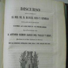 Libros antiguos: 1859 DISCURSO DEL PRESIDENTE DE LA REAL ACADEMIA DE CIENCIAS D. ANT. REMÓN ZARCO DEL VALLE EN LA .... Lote 221650425