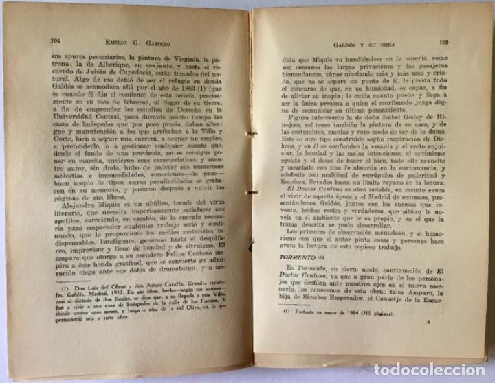 Libros antiguos: GALDÓS Y SU OBRA. (I) LOS EPISODIOS NACIONALES. (II) LAS NOVELAS. (III) EL TEATRO. - GAMERO Y - Foto 7 - 123191400