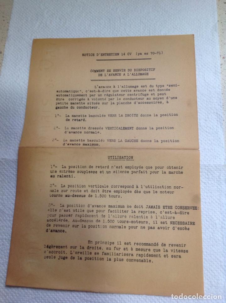 Libros antiguos: LA 14 CV VOISIN. SON ENTRETIEN. AVANT-PROPOS - Foto 3 - 221761878