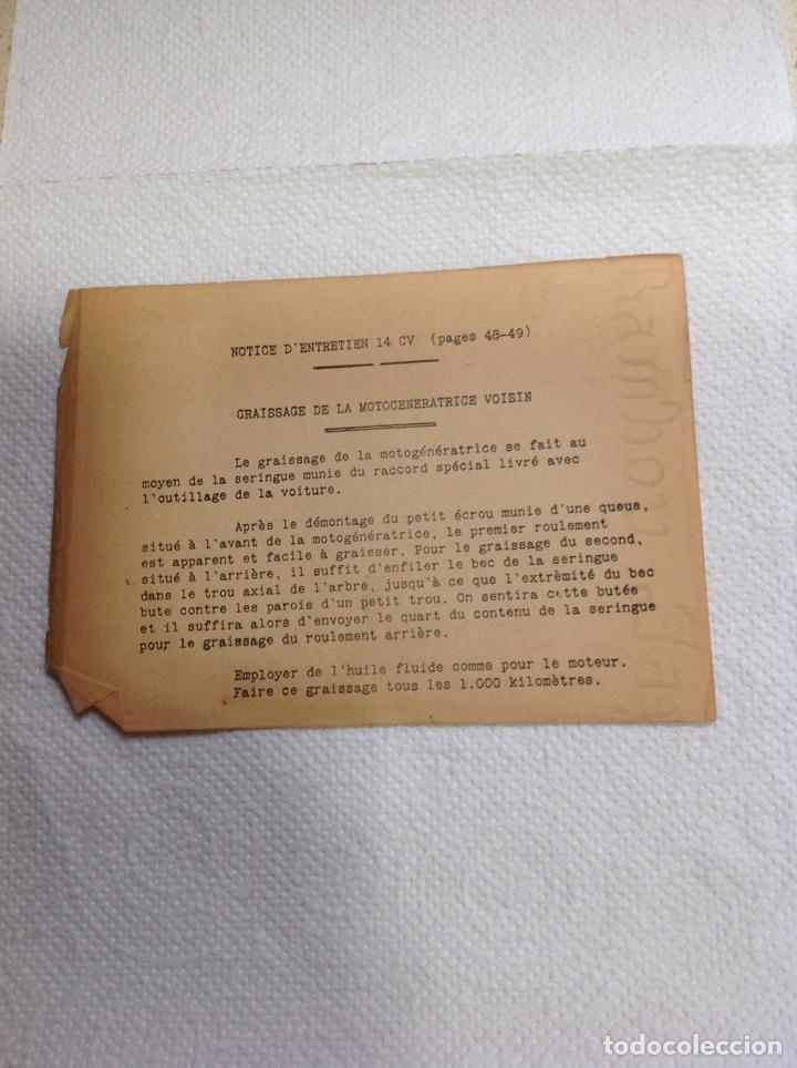 Libros antiguos: LA 14 CV VOISIN. SON ENTRETIEN. AVANT-PROPOS - Foto 4 - 221761878