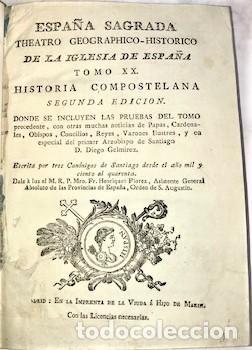 Libros antiguos: HENRIQUE FLOREZ ... ESPAÑA SAGRADA ... TOMO XX. HISTORIA COMPOSTELANA ... 1791 - Foto 2 - 222064551