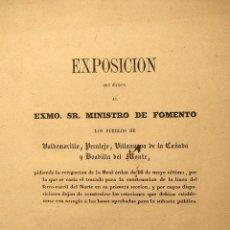 Libros antiguos: FERROCARRIL. EXPOSICIÓN. VALDEMORILLO, PERALEJO, VILLANUEVA DE LA CAÑADA Y BOADILLA DE MONTE. 1857.. Lote 222398998