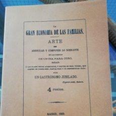 Libros antiguos: ARTE DE ARREGLAR Y COMPONER LO SOBRANTE DE LAS COMIDAS FACSÍMIL DE LA EDICIÓN DE 1869. Lote 222424476