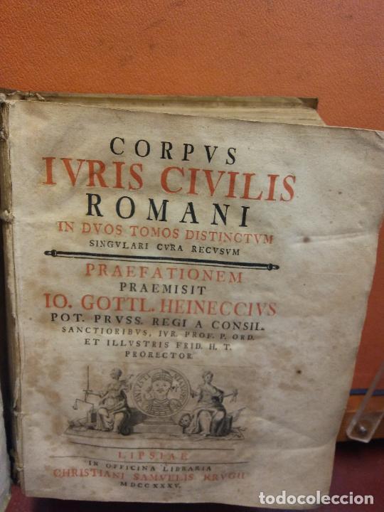 Libros antiguos: IVRIS CIVILIS. CORPUS ROMANI. 1 TOMO. IO GOTTL. HEINECCIVS. OFICINA LIBRARIA CHRISTIAN SAMVELIS 1735 - Foto 2 - 222795583