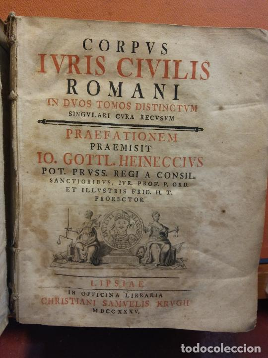 IVRIS CIVILIS. CORPUS ROMANI. 1 TOMO. IO GOTTL. HEINECCIVS. OFICINA LIBRARIA CHRISTIAN SAMVELIS 1735 (Libros Antiguos, Raros y Curiosos - Otros Idiomas)