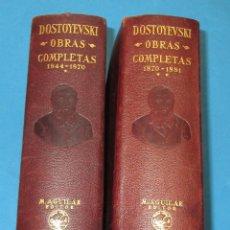 Libros antiguos: DOSTOYEVSKI .OBRAS COMPLETAS 2 TOMOS. AGUILAR. 1935. PIEL PAPEL BIBLIA. 2016 Y 2244 PÁGINAS.. Lote 223093797