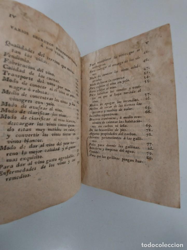 Libros antiguos: TOMO Nº 5 - SECRETOS RAROS DE ARTES Y OFICIOS - AÑO 1813 - IMPRENTA DE VILLALPANDO - VINOS, GALLINAS - Foto 4 - 223327571
