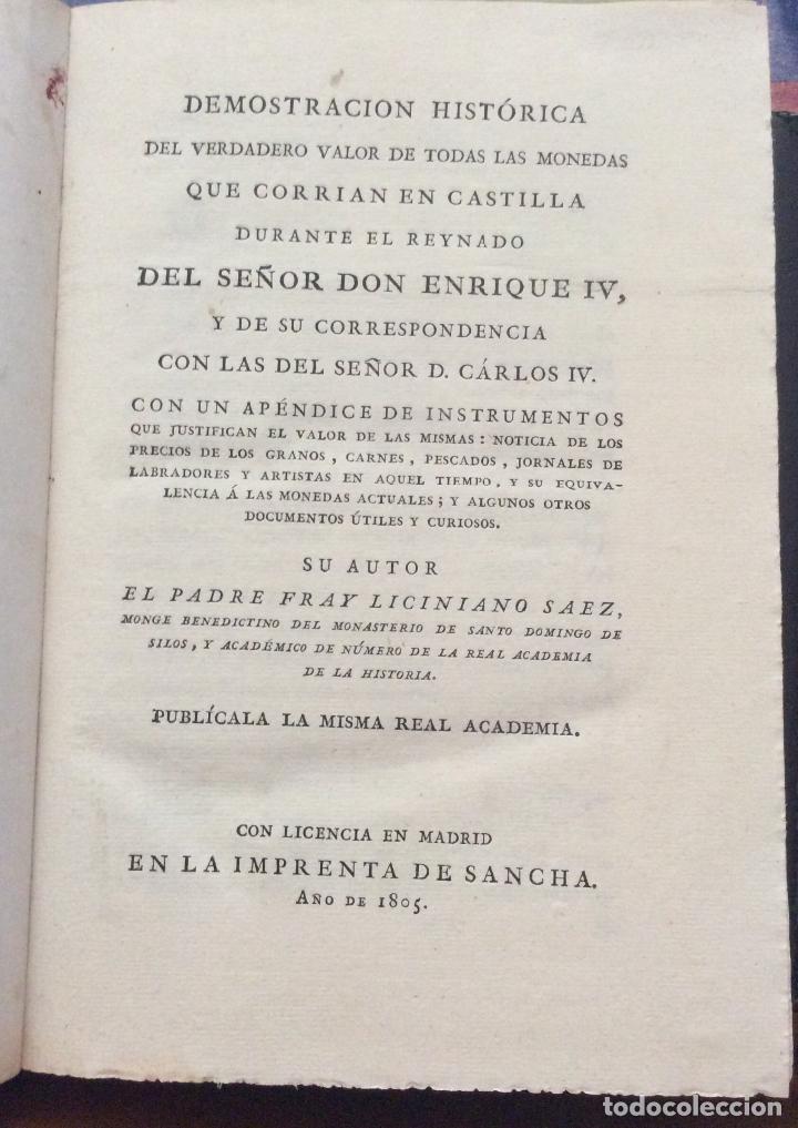 Libros antiguos: DEMOSTRACIÓN HISTORICA DEL VERDADERO VALOR DE TODAS LAS MONEDAS1805 que CORRÍAN EN CASTILLA - Foto 2 - 223992888