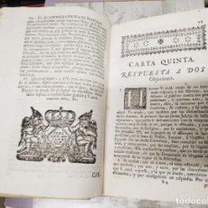 Libros antiguos: ENCUADERNACIÓN EN PERGAMINO CARTAS ERUDITAS Y CURIOSAS DEL THEATRO CRITICO . FEYJOÒ . 1759. Lote 224006996