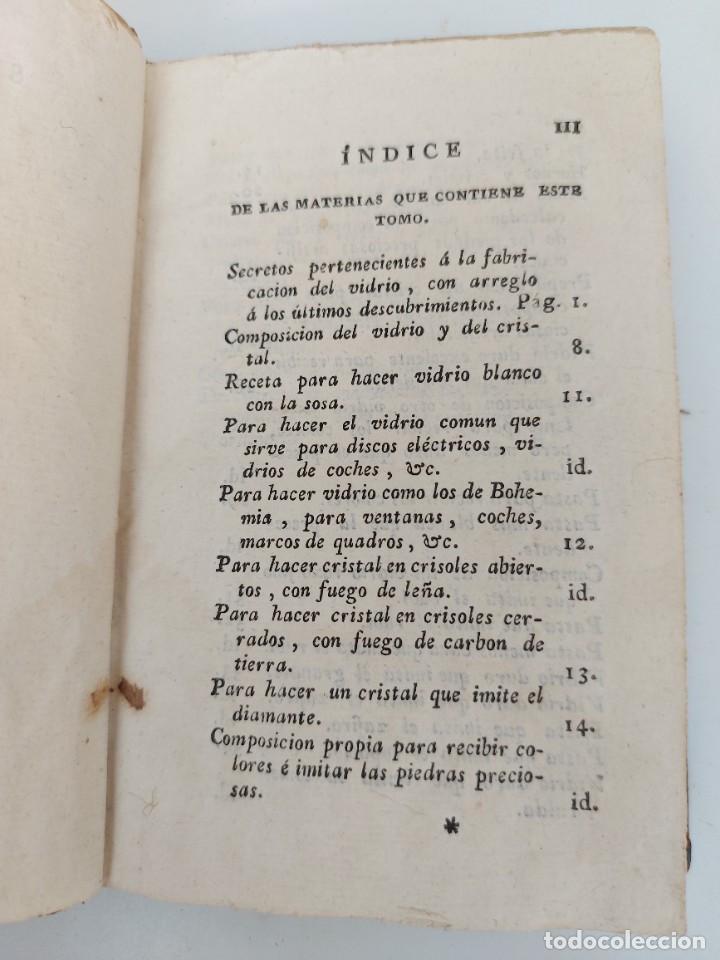 Libros antiguos: TOMO Nº 12 - SECRETOS RAROS DE ARTES Y OFICIOS - AÑO 1807 - FABRICACIÓN DE VIDRIO, COLORES, CUERDAS - Foto 2 - 224321916