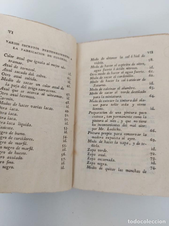 Libros antiguos: TOMO Nº 12 - SECRETOS RAROS DE ARTES Y OFICIOS - AÑO 1807 - FABRICACIÓN DE VIDRIO, COLORES, CUERDAS - Foto 3 - 224321916