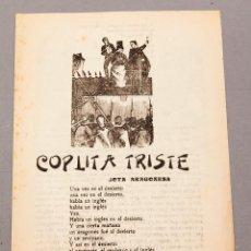 Libros antiguos: COPLA DEL CANTARICO - COLLA DE SABADELL - JOAN OLIVER , FRANCESC TRABAL ... - EDICIONS NO ME OLVIDES. Lote 224498578