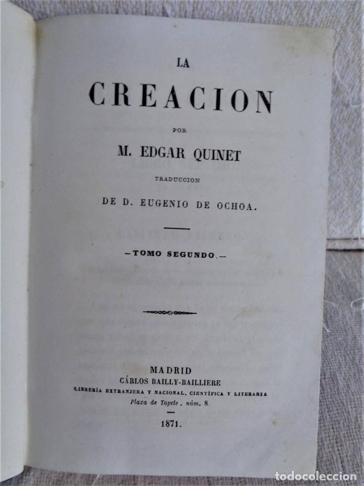 Libros antiguos: La creación. Tomo Segundo - M. Edgar Quinet. - Foto 2 - 224897181