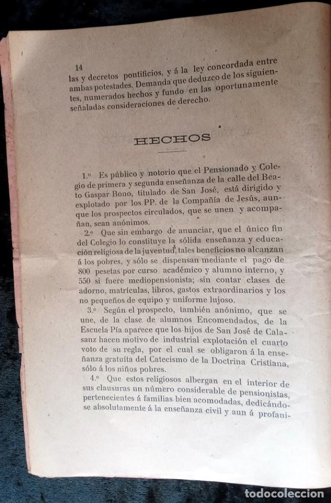 Libros antiguos: 1905 - VALENCIA - DEMANDA MAGISTERIO PRIVADO CONTRA INSTITUTOS Y CONGREGACIONES RELIGIOSAS - Foto 5 - 226289715