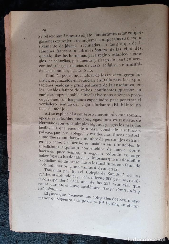Libros antiguos: 1905 - VALENCIA - DEMANDA MAGISTERIO PRIVADO CONTRA INSTITUTOS Y CONGREGACIONES RELIGIOSAS - Foto 7 - 226289715