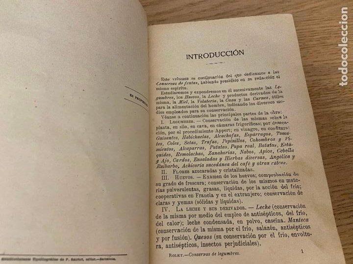 Libros antiguos: LAS CONSERVAS DE LEGUMBRES - ANTONIO ROLET - 1923 - Foto 8 - 226443265