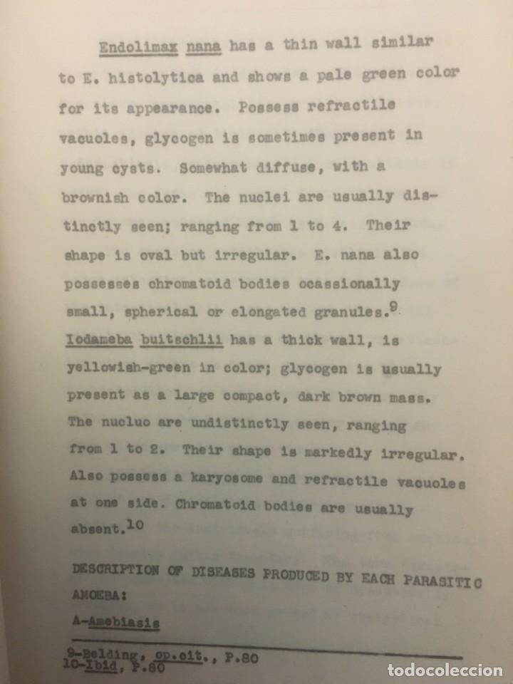 Libros antiguos: TESIS DOCTORAL EN PUERTO RICO : EL PARÁSITO AMOEBAE DEL HOMBRE. SYLVIA MONTESERÌN 1949. LIBRO UNICO - Foto 3 - 154743306