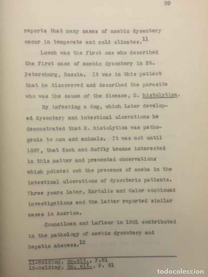 Libros antiguos: TESIS DOCTORAL EN PUERTO RICO : EL PARÁSITO AMOEBAE DEL HOMBRE. SYLVIA MONTESERÌN 1949. LIBRO UNICO - Foto 13 - 154743306