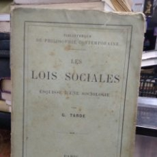 Livres anciens: LES LOIS SOCIALES, G. TARDE. EN FRANCÉS. 1898. L.6611-1008. Lote 227233715