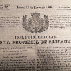 Libros antiguos: BOLETÍN OFICIAL DE LA PROVINCIA DE ALICANTE 1846 TOMO COMPLETO.. Lote 227750610