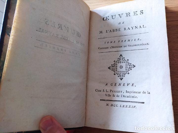 Libros antiguos: Oeuvres de M. LAbbe Raynal: Tome premiere, Publicado por J. L. Pellet, Geneve (1784) - Foto 3 - 229317690